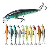 FNAPE Señuelos de Pesca Pack de Pesca Catching/Spinning – Señuelos Duros Flotantes Artificiales – Cebos Lucio/Black Bass/lubina – Pesca pantano y mar – 10 cm y 7 Gramos
