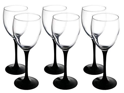 SOLAVIA Lot de 6 verres à vin en verre transparent de 330ml, H 20cm, avec pied noir