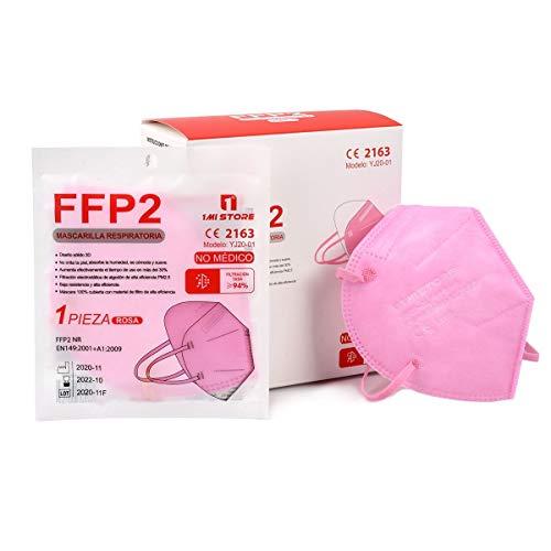 Mascarilla FFP2 Rosa 1MiStore | Caja 20 unidades | Homologadas con Certificados CE | Mascarilla de Protección Respiratoria | 5 Capas Alta Filtración | Mascarilla FFP2 sin Grafeno.