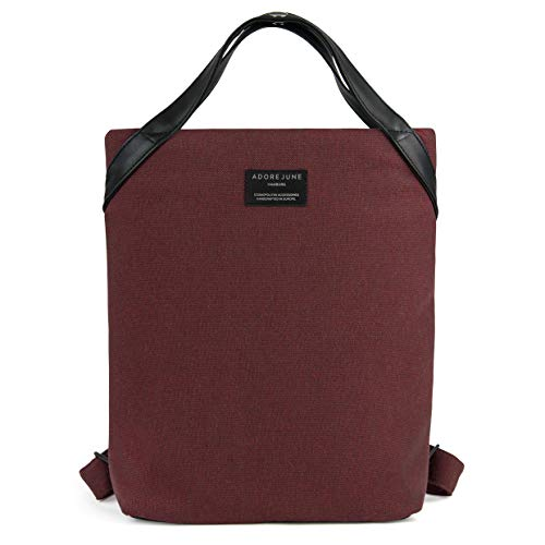 Adore June Damen-Rucksack Liv Bordeaux-Rot, Klein und Elegant, Recycling-Material, Handgefertigt in Europa, 29 x 33 x 9 cm