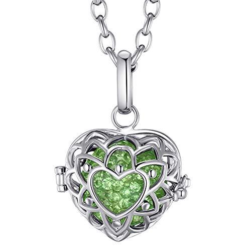 Morella® Damen Halskette Edelstahl 70 cm mit Herzform Anhänger und Klangkugel Zirkonia grün Ø 16 mm in Schmuckbeutel