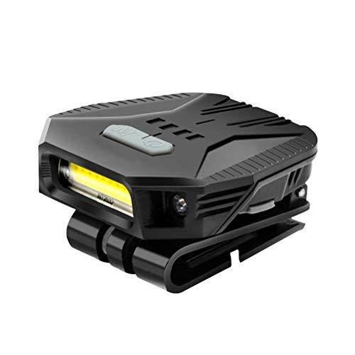 Sklepee Luces principales, ligero recargable clip en la tapa de la visera de la luz del sensor de movimiento de la linterna del sombrero portátil de la luz del faro para la pesca Correr acampar