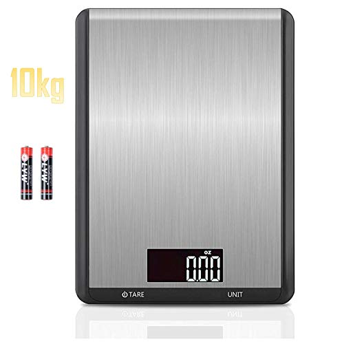 ANGOO Digital Food Scale, 22lb Baking Scale Digital Grams and Ounces, 1g/0.1oz Precise Graduation Stainless Steel Waterproof Kitchen Scale (Silver 22lb)