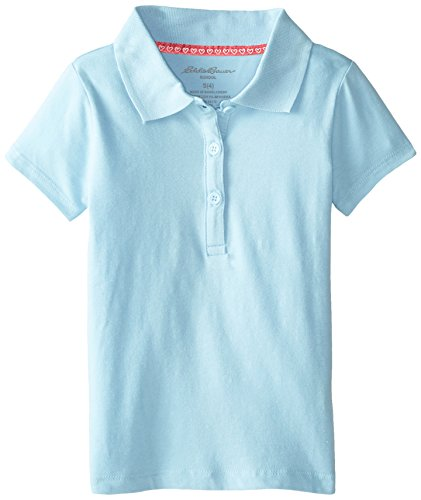 Eddie Bauer Girls' Polo Shirt (More Styles Available), True Light Blue, 10/12