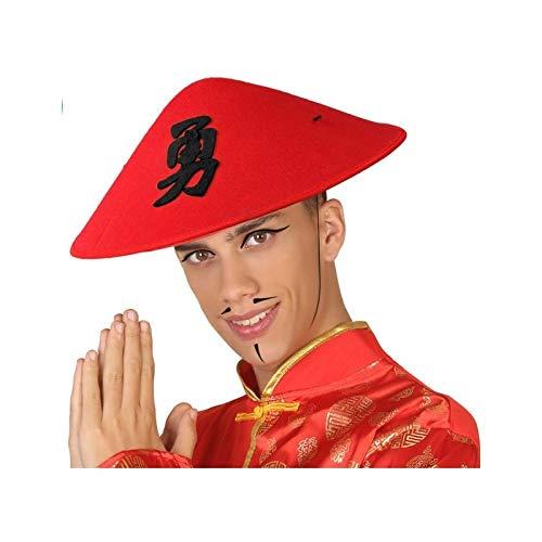 Atosa-59020 Sombrero Oriental Chino, color rojo, única...