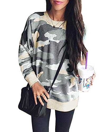 Women's Casual Camouflage Sweatshirts Long Sleeve Loose Camo Pullover Tops Sweater Shirts(Green-4049 S)