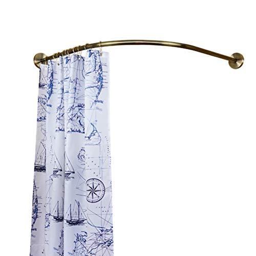 Y-only Barra de cortina de ducha de metal en forma de L, para montaje en pared, a prueba de óxido, resistente y resistente, bronce, 95 x 95 cm