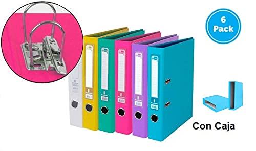 Pack 6 archivadores de palanca y caja Officepaper folio forrado pvc con rado lomo 75mm colores Colores Blanco, Amarillo, Verde claro, Azul claro, Rosa, Lila.