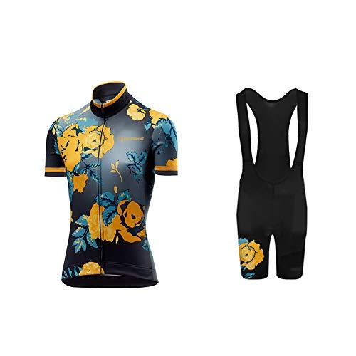 Uglyfrog 2019 Design Damen Radtrikot Kurzarm Bike Shirts Fahrradbekleidung Fahrrad Top und Trägerhose Set Sportbekleidung Geschenke für Freunde DEDamenDJT01