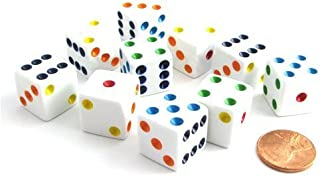 Set of 10 Six Sided D6 16mm Standard Dice White with Multi-Color Pips