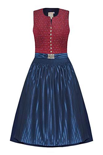 Moser Trachten Baumwolle Midi Dirndl 65er rot Gemustert blau Jasmin 005427 von Moser, Rocklänge: ca. 65cm, mit Knopfleiste, Größe 34