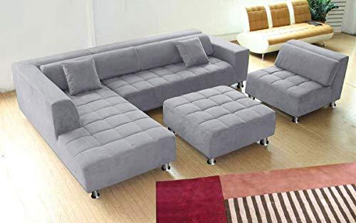 Stendmar 4pc Modern Grey Microfiber Sectional Sofa Chaise Chair Ottoman S1107LG
