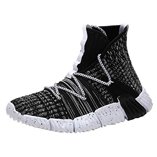 Great Features Of Men High-Top Fly Woven Breathable Running Shoes Outdoor Casual Sneakers Shoes Autu...