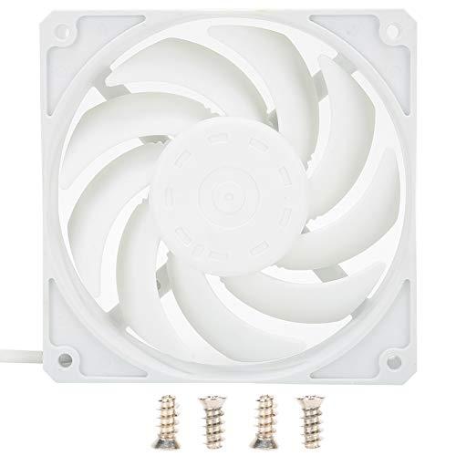 Ventiladores de Caja de computadora de 12 cm, Ventilador de enfriamiento de Alto Rendimiento, Ventilador de enfriamiento silencioso Enfriador de bajo Ruido PWM para Cajas de computadora(Blanco)