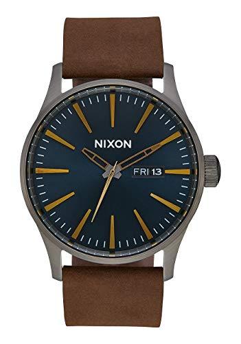 Nixon Armbanduhr Sentry Leder Gunmetal / Indigo / Brown