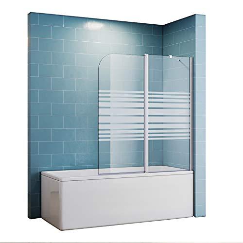 Duschtrennwand für badewanne 120x140 Teilsatiniert Duschwand