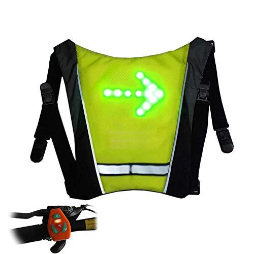 AK-BAG Rucksack Anhänger Mit LED Drahtlose Fernbedienung Warnlichter/Sicherheit Signal Licht Anmachen, Fahrrad Radfahren Einstellbar Gummiband LED-Anzeigetafel,Yellow