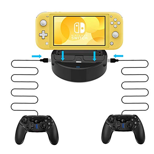Charging Dock for Nintendo Switch Lite,Joytorn Charger Station Compatible with Switch Lite/Switch Pro Controller(Type-C Cable)/Android Phone(Type-C) with 2 USB Ports
