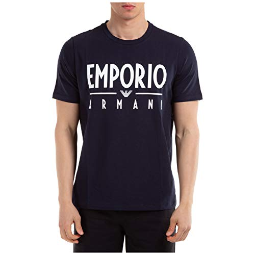 Armani Emporio Script Logo T-Shirt Small Navy