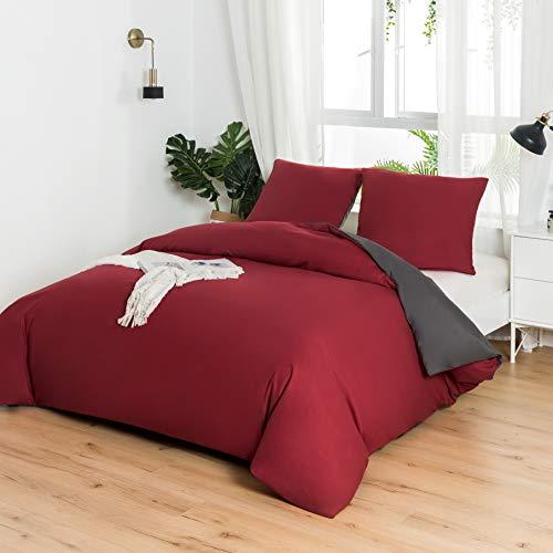 Juego de cama reversible de 240 x 260 / 65 x 65 x 2 cm, color rojo y gris oscuro