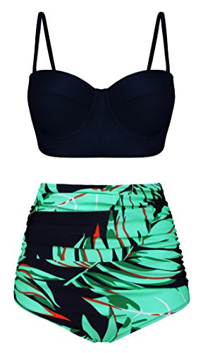 Aixy Women Two Piece Swimsuits Solid Bikini Top Leaves Partten Bottom Bathing Suits