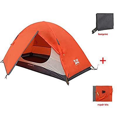 MIS MOUNTAIN INN SPORTS 1 Person Plus Camping Tent,Portable Backpacking Tent with Footprint,Double Layer Waterproof Outdoor Tent,Lightweight Dome Tent for Camping Hiking Mountaineering
