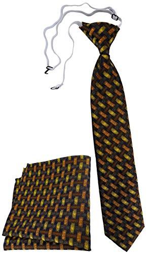 TigerTie Kinderkrawatte Einstecktuch in orange gelb braun schwarz - Motiv Flechtmuster - vorgebunden mit Gummizug