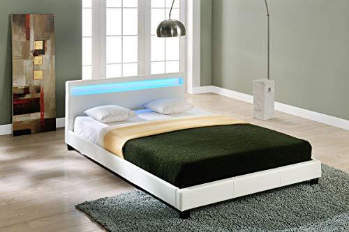Corium Lit capitonné à LED (Paris) avec Matelas (160x200cm)(Blanc)(Mousse Froide) - avec Cuir synthétique/Housse en Cuir synthétique/éclairage RVB/avec sommier à Lattes /