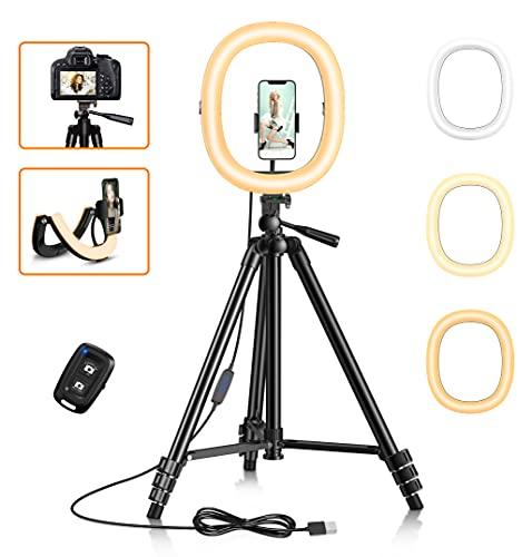 Cocoda 12' Pieghevole Ring Light, Luce per Selfie Dimmerabile con Treppiede Smartphone da 129cm, Telecomando Bluetooth, 3 modalità & Luminosità di 10 Livelli per Live Streaming/Trucco/Vlog/Fotografia