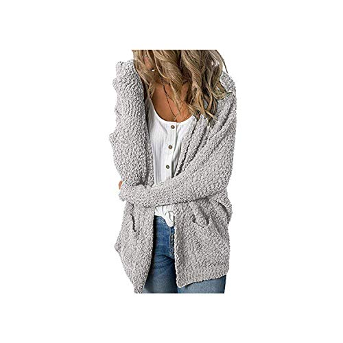 2019 Loose Cardigan Coat with Double Pocket Women Cute Sweet Sweater Jacket Autumn Casual Long Knitted Cardigan Top,Gray,M