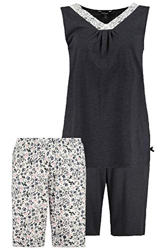 Ulla Popken Damen Shorty, 3er-Set Biobaumwolle, Größen Pyjamaset, Multicolor, 50+