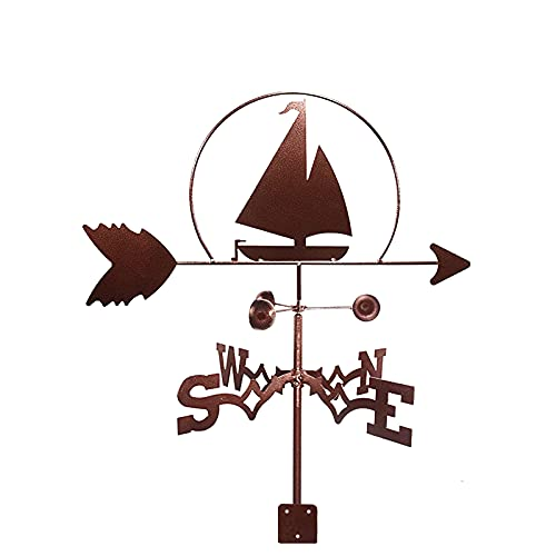 CNMJI Banderuola Segnavento Barca A Vela Forma Indicatore di Direzione del Vento Segna Vento Weathervane Acciaio Inossidabile per Tetto da Giardino Ornamento