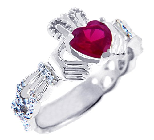 Kleine Schätze - Damen Ring / Verlobungsring / partnerring 18 Karat Weißgold Diamant Claddagh Ring Mit 0.4 Ct Diamant und 1.1 Ct Rubin