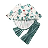 [FEATURE]:Infant baby girl boho dress with chritmas tree and snowman print,Ruffle bell sleeve,pompom tassel hem.Matching with a long pants,bell bottom,velet fabric.Elastic waistband. A essential clothing set for your little girls in this fall and win...