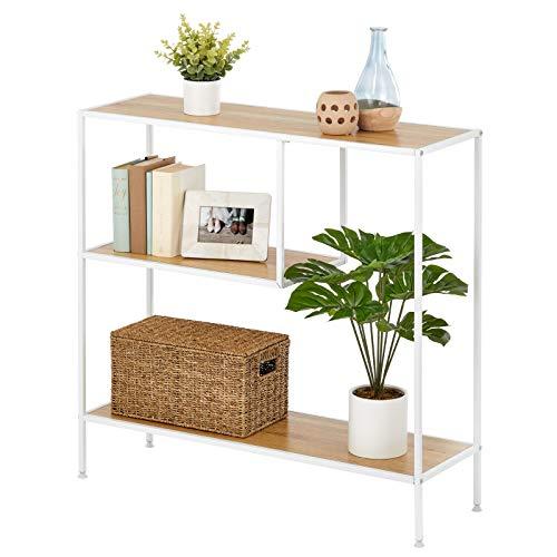mDesign Mesa auxiliar – Mueble recibidor alto con 3 niveles, de metal y madera – Mueble consola estrecho para salón y pasillo en estilo industrial, para objetos pequeños – blanco y marrón claro