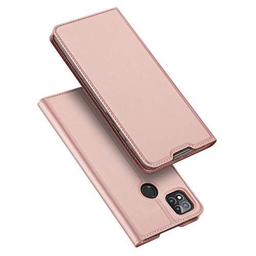 DUX DUCIS Hülle für Xiaomi Redmi 9C, Leder Klappbar Handyhülle Schutzhülle Tasche Hülle mit [Kartenfach] [Standfunktion] [Magnetisch] für Xiaomi Redmi 9C (Rose Golden)