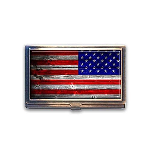 jkfgweeryhrt American Flagge USA Holz Custom Tragbare Business Bank Name Card Case Halter Box Tasche Kreditkarte ID Geldbörse