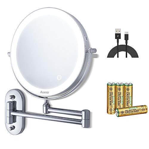 Auxmir Kosmetikspiegel LED Beleuchtet mit 1-/10X Vergrößerung, Dimmbarer Schminkspiegel mit Touchschalter, Batterie oder USB Betrieben, Rasierspiegel Doppelseitig Wandmontage für Badezimmer und Hotel