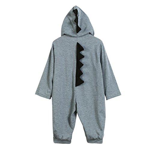 Koly Combinaison Pilote Bébé Automne, Combinaison Pyjamas de Neige en Coton à Capuche de Dinosaures Cartoon Mignonne Barboteuse Manches Longues (18 Mois, Gris)