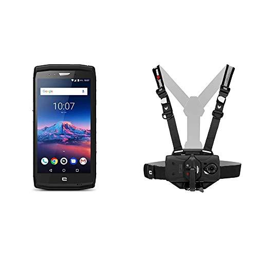 Crosscall Trekker-X4 Smartphone Schwarz + X-Chest Befestigungsgurt Schwarz