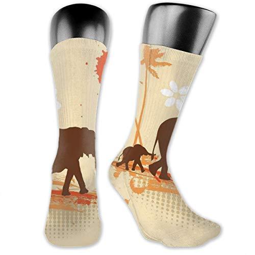 Compression Medium Calf Socks,Mother Baby Elephants In Tropical Lands Desert Illustration Of Safari Kids