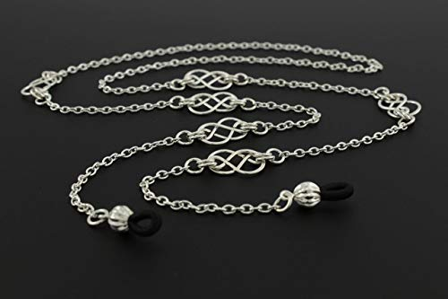 Womens Fashion Eye Glasses Necklace Chain with Handcrafted Silver Celtic Knots, Fits Most Glasses