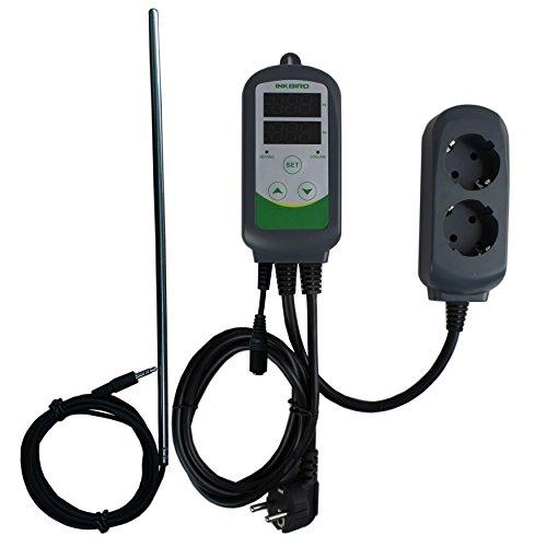 Inkbird ITC-308S Termostato Digital hay Double Relés Controlador la Temperatura de Refrigerador y Calentador para Acuarios, Cerveza Artesanal y Reptile Terrarios + 11.8' Sonda Desmontable