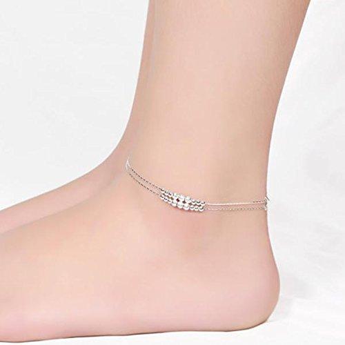 Femmes Argent Chaîne de cheville,Nourich 18 Perles Gommage Perles Chaîne de Pieds Corde Main réglable Bracelet de cheville pas cher Chaîne de pied Chic Anklet Yoga Plage Barefoot (A)