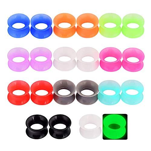 Longbeauty 11Paare Silikon Tunnel Plug Gauge Earrings Extra Weich 12mm