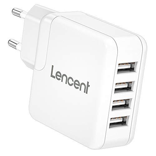 LENCENT Cargador USB de Pared, Enchufe Multipuerto 24W/4.8A,4 USB, Cargador Móvil Universal con tecnología Auto-ID, para iPhone, iPad, Samsung, Huawei, Xiaomi, LG, Nexus, HTC y más…