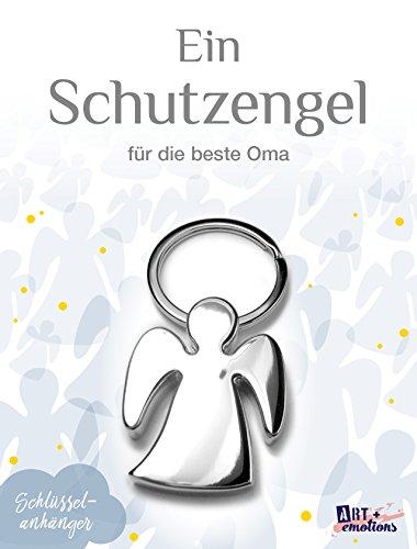 ART + emotions Schlüsselanhänger - Schutzengel für die Beste Oma - Hochglanz verchromt - Mutmacher Glücksbringer und Talisman fürs Auto und Reise