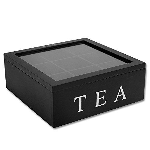 Teekiste 9 Fächer mit Farbauswahl - Teebox - Teedose - Teekasten (schwarz)