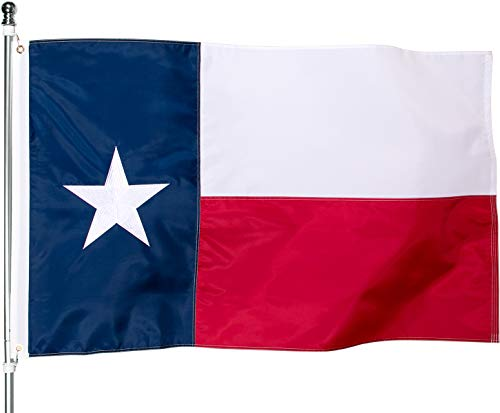 Texas Flag 3x5 Outdoor - Heavy Duty Nylon Texas State Flags with Embroidered Stars, Sewn Stripes and Brass Grommets (3x5 Feet)