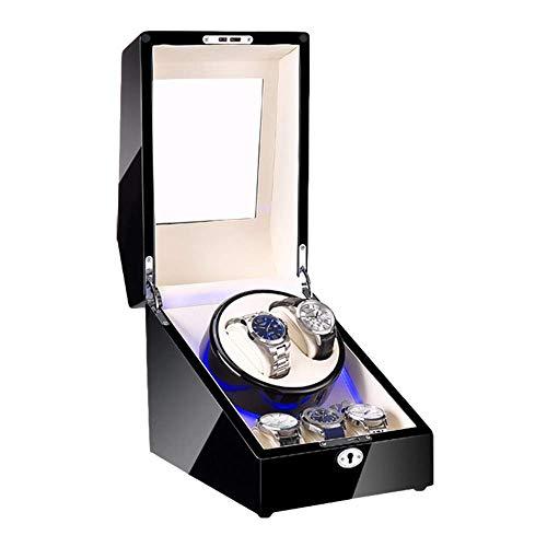 AMAFS Reloj automático caja de la devanadera de madera Shell negro Piano acabado con iluminación LED Super Quiet Motor Dual Fuente de alimentación festival